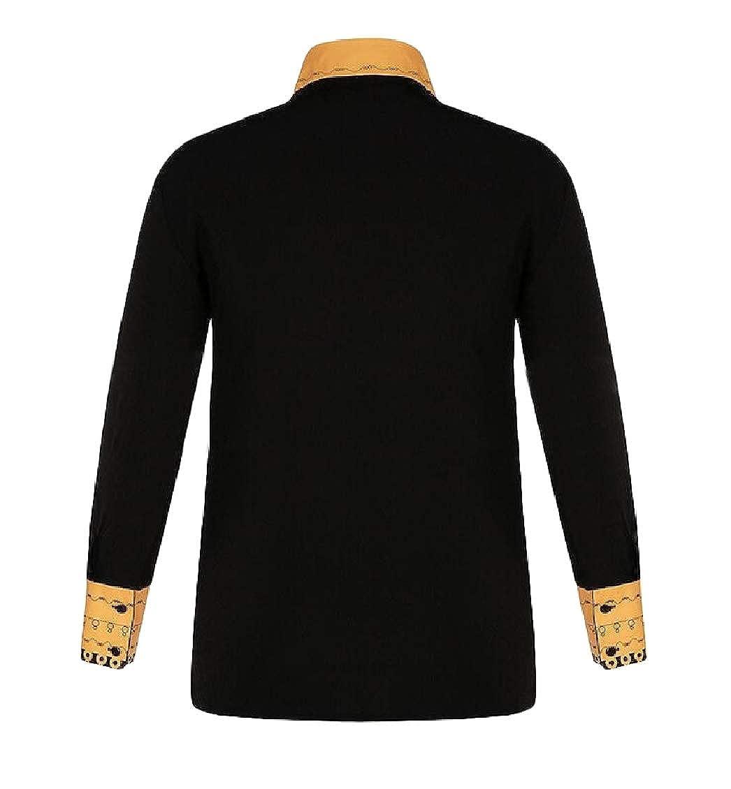 Hajotrawa Men Printed Slim Fit Button Down Long Sleeve Ethnic Style Shirt