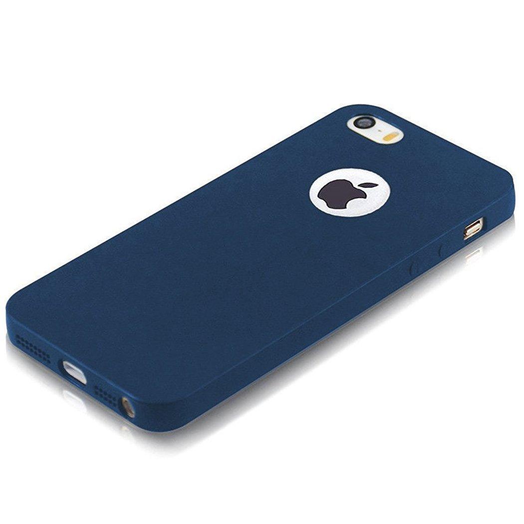 E LV Ultimate Protection Super Slim Anti-Slip Matte Finish Coat Protective Soft Back TPU Case Cover for Apple iPhone SE / 5S / 5 - Blue.