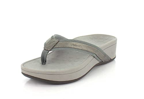 Vionic Women's High Tide Arch Support Thong Wedge Sandal Pewter 8 M US