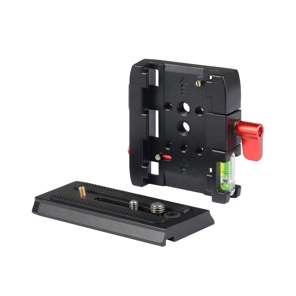 701HDV and Tripod 503HDV UTEBIT P200 Quick Release Clamp 1//4 3//8 Screw Aluminum Alloy QR Plate With Two-way Level Compatible for Manfrotto 500AH