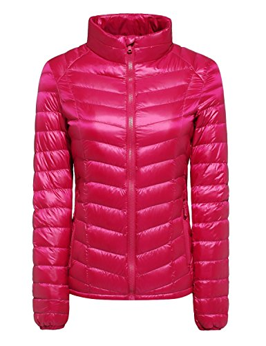 CHERRY CHICK Women's Packable Down Moto Jacket (XS, Rose Red-JT) (Jacket Layer Puffy)