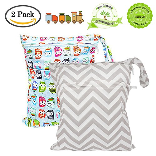 BESEGO Wet and Dry Cloth Diaper Bags - 2pcs, Nappy ...