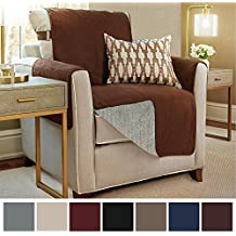 """The Original GORILLA GRIP Premium Micro-Suede Slip Resistant Slip-Cover Couch Protector, Furniture Cover Features Two 2"""" Straps, Perfect for Kids, Dogs and Cats (Chair: Coffee)"""
