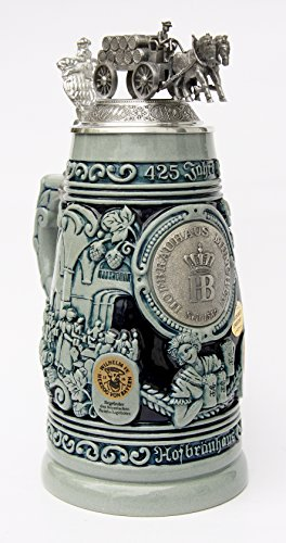 Hofbrauhaus 425th Year Anniversary Beer Stein with Beer Wagon Lid Cobalt by King Werk