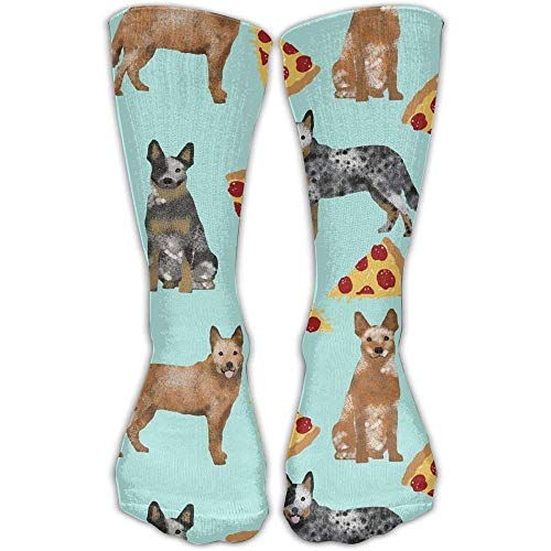 Price comparison product image Australian Cattle Dog Blue And Red Heelers And Pizzas Crew Socks Cotton Casual Knitting Warm Winter Socks 50cm