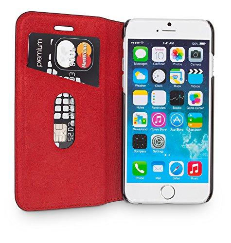 """WIIUKA Echt Ledertasche """"TRAVEL"""" Apple iPhone 8 PLUS und iPhone 7 PLUS mit Kartenfach extra Dünn Tasche RED EDITION Schwarz Rot Premium Design Leder Hülle"""