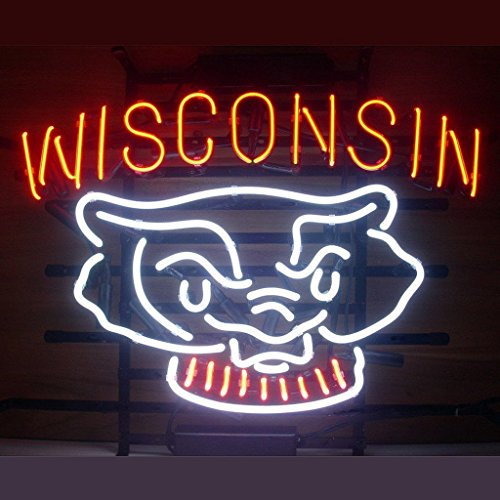 (UrbyTM Wisconsin Badgers Neon Sign Neon Light Beer Bar Pub Recreation Room Windows Wall Sign Display Signboards 18''x14'' A30-01)