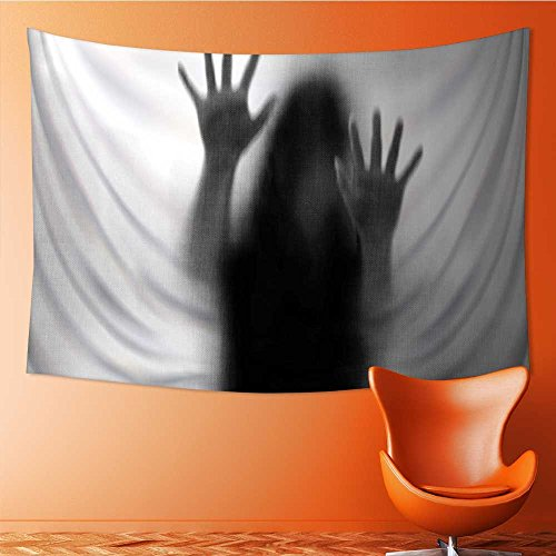 SeptSonne Tapestry Wall Tapestry Silhouette of Woman behind the Veil Scared to Death Obscured Paranormal Gray Wall Hanging Yoga/Picnic/Camping Mat 80W x 60L Inch by SeptSonne