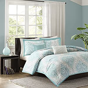 Intelligent Design - Senna -All Seasons Comforter Set -5 Piece - Aqua - Damask Pattern - Full/Queen Size - Includes 1 Comforter, 2 Shams, 2 Decorative Pillows - Ideal For Guest Room