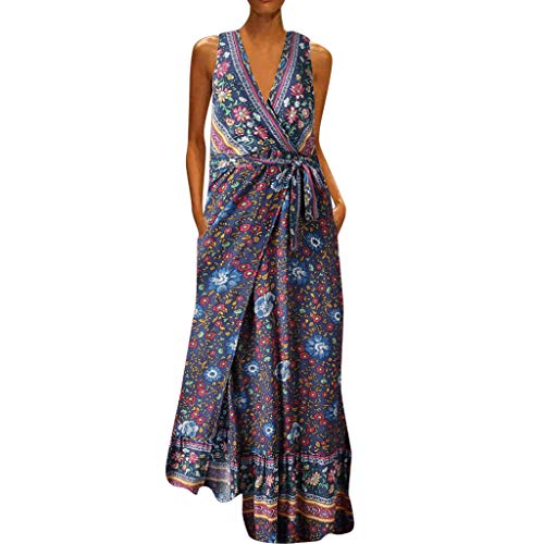 (Haalife◕‿Women's Bohemian Floral Printed Wrap V Neck Sleeveless Split Beach Party Maxi Dress Navy)