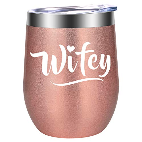 Wifey Gifts - Best Wife Birthday Gifts for Women - Funny Anniversary, Bachelorette, Wedding, Engagement, Bridal Shower, Newlywed Gifts for New Wife, Bride, Friends - LEADO 12oz Wine Tumbler Wifey Cup (Shower Wifey)
