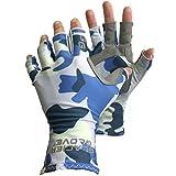 Glacier Glove Fingerless Islamorada Sun Glove, Blue Camo, Large