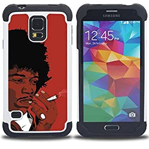 GIFT CHOICE / Defensor Cubierta de protección completa Flexible TPU Silicona + Duro PC Estuche protector Cáscara Funda Caso / Combo Case for Samsung Galaxy S5 V SM-G900 // Black Man Smoking African Curly Hair Art Drawing //