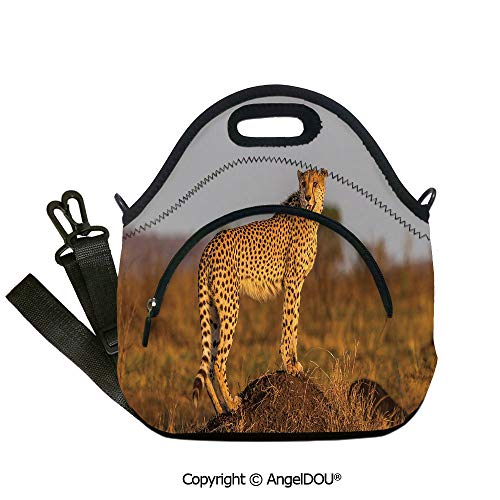 AngelDOU Safari portable thickening insulation tape Lunch bag African Wild Animal Cheetah Standing on Termite Mound Savannah Nature View Decorative lunch bag for Employee student12.6x12.6x6.3(inch)