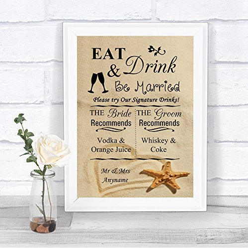 Beach Sand Signature Drinks Cocktail Bar Personalized Wedding Sign