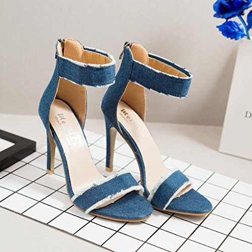 Light Holiday Stiletto Fashion for Blue Denim Sandals Sandals Ladies Clode® High Heel Wedding Womens Party vxOaFq