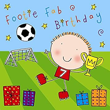 Twizler 7th Birthday Card For Boy Footballer With Presents Seven