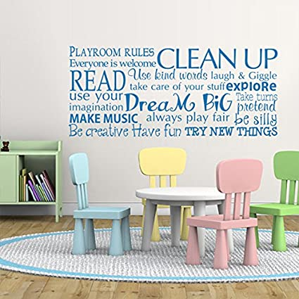 Playroom rules wall decal children room decor kids playroom wall quotes education vinyl