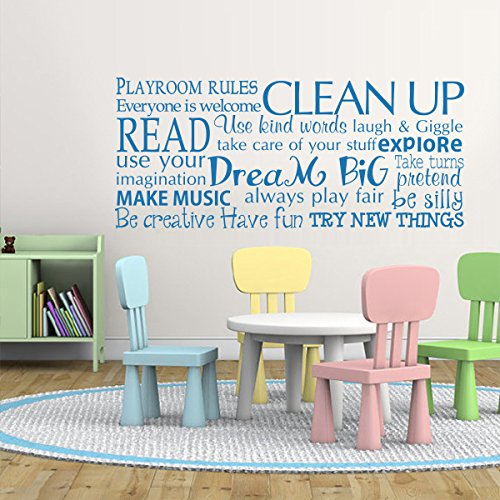 Playroom rules wall decal children room decor kids playroom wall quotes education vinyl wall stickers£¨largeblack£ amazon co uk kitchen home