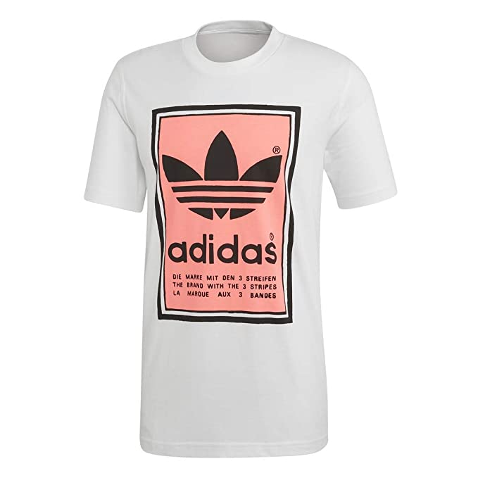 adidas Originals Men's Filled Label Sweatshirt, white/flash red, Medium