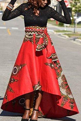 Floraux Swing Motifs Faible Les Partie red Jupe Chic leve Ethnique w5I7wTqf