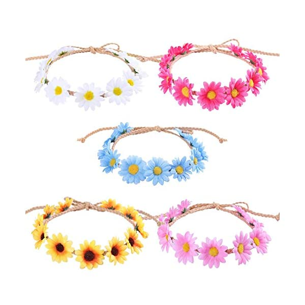 AESTHING 5PCS Bohemian Style Flower Crown Headband Women Beach Headwear Chrysanthemum Flowers Hair Bands Wreath Hair Hat Decoration Summer Accessories