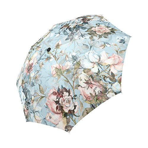 InterestPrint Vintage Flowers Windproof Auto Open and Close Foldable Umbrella, Beautiful Antique Floral Lightweight Portable Outdoor Sun Umbrella with UV Protection ()