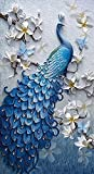 Peacock and White Magnolia 5D DIY Diamond Painting Kit Full Drill Diamond Embroidery by Numbers Rhinstone Crystal Cross-Stitch Craft for Wall Decor