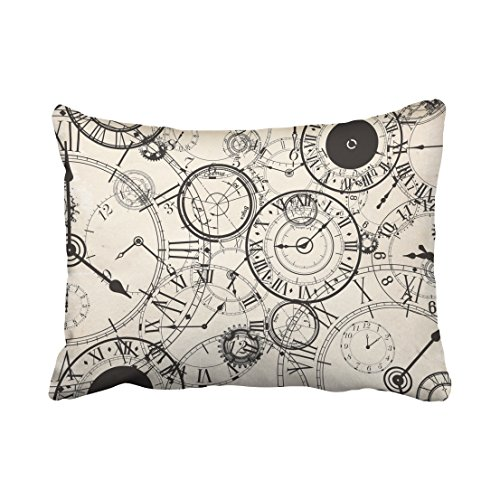 Accrocn Pillowcases vintage Clock pencil painting print Polyester 20 x 26 Inch Rectangle With Hidden Pillow Covers Zipper Home Sofa Cushion Decorative Pillowcase (Burlap Pencil Case)