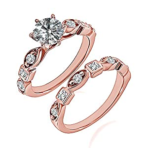 0.77 Carat G-H I2-I3 Diamond Engagement Wedding Anniversary Halo Bridal Ring Set 14K Rose Gold