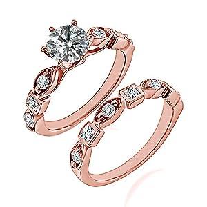 0.95 Carat G-H I2-I3 Diamond Engagement Wedding Anniversary Halo Bridal Ring Set 14K Rose Gold