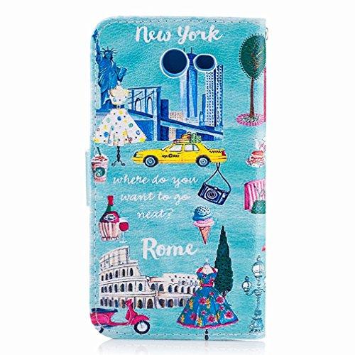 Yiizy Samsung Galaxy J3 Prime Funda, Estilo Europeo Diseño Solapa Flip Billetera Carcasa Tapa Estuches Premium PU Cuero Cover Cáscara Bumper Protector Slim Piel Shell Case Stand Ranura para Tarjetas E