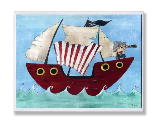 The Kids Room by Stupell Pirate Ship At Sea Rectangle Wall Plaque, 11 x 0.5 x 15, Proudly Made in USA by The Kids Room by Stupell