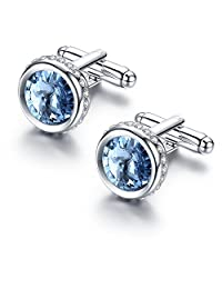 Pinannie Austria Crystal Shirt Cuff Links White Gold Plated Wedding Cufflinks for Mens