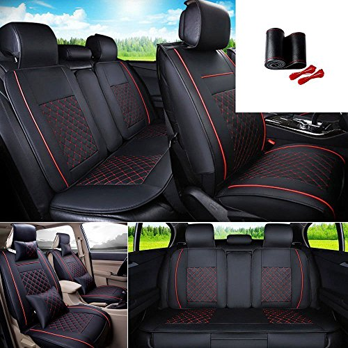 FLY5D 9Pcs Universal PU Leather Car Front Rear Seat Covers Full Set Black Red For 5 Seats Cars Vehicles Honda Toyota Nissan BMWBlack L