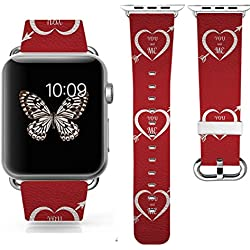 3C-LIFE iWatch/iWatch 2 Bands 42mm, Valentine's day GIFT ,Apple Watch/Apple Watch 2 Band Genuine Prime Elegant Leather Replacement With Silver Metal Adapter -loving heart 1