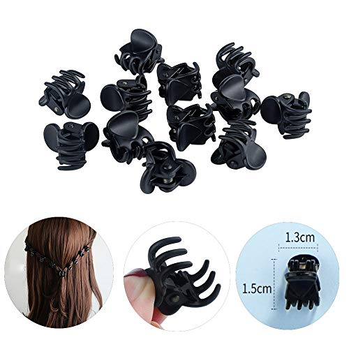 CINEEN12 Pieces Mini Jaw Clips Plastic Hair Claw Pins Clamps for Girls and women, No-Slip Grip Small Frosted Black Hairpin