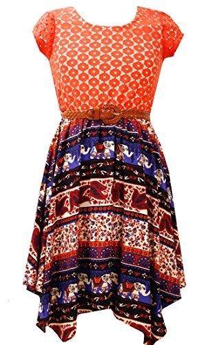 Bonnie Jean Tween Girls Lace Bodice Elephant Parade Dress, Orange , -