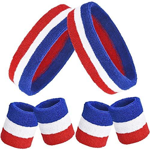 6 Pieces Striped Sweatbands Set, Includes 2 Pieces Sports Headband and 4  Pieces Wristbands Sweatbands Colorful Cotton Striped Sweatband Set for Men