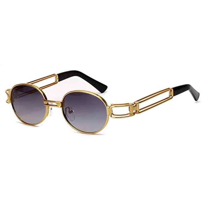 5ae62b73fd3a Vintage Retro Round Sunglasses Steampunk Metal Frame Mirror Lens Glass Men  Women  Amazon.co.uk  Clothing