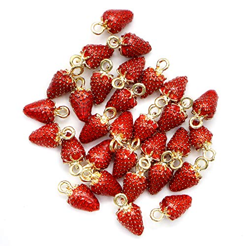 - Monrocco 30pcs Gold Alloy Enamel Strawberry Pendants Charms Strawberry Fruit Shapes Pendant Strawberry Beads for Earring, Necklace, Bracelet