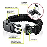 ECVILLA Paracord Bracelet, Survival Bracelet with Compass Fire Starter Emergency Knife Whistle