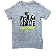 NIKE Boy's No Delay In My Game Crew Neck Graphic T-Shirt AJ5882-063 Heather Grey/Black/Neon Green