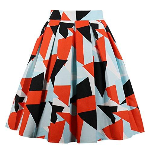 Killreal Women's Vintage Retro Casual Knee Length High Waisted A-Line Triangle Geometric Print Colorful Pleated Midi Skirt Multicoloured ()