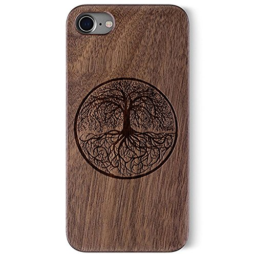 Carved Walnut Shell - BTHEONE Natural Wood by Carved - Apple iPhone 7 Wood Case - Clear Polycarbonate Hard Shell with Real All Wooden Cover,Use Laser Carving Exquisite Patterns (Walnut-Yggdrasill)
