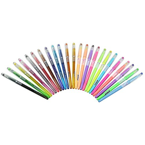 Super Colorful Gel Pens, 24 Gel Pen Set Include 12 Pastels + 12 Glitter (Pens From Target compare prices)