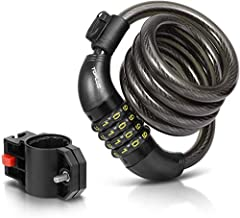 Convenient Bike Cable Lock: 4-digit combination bike lock , no longer need to take a key convenient with a free mounting bracket. 4-feet long lock cable is long enough to lock bike, skateboards, grills, fence and others. The bike lock can als...