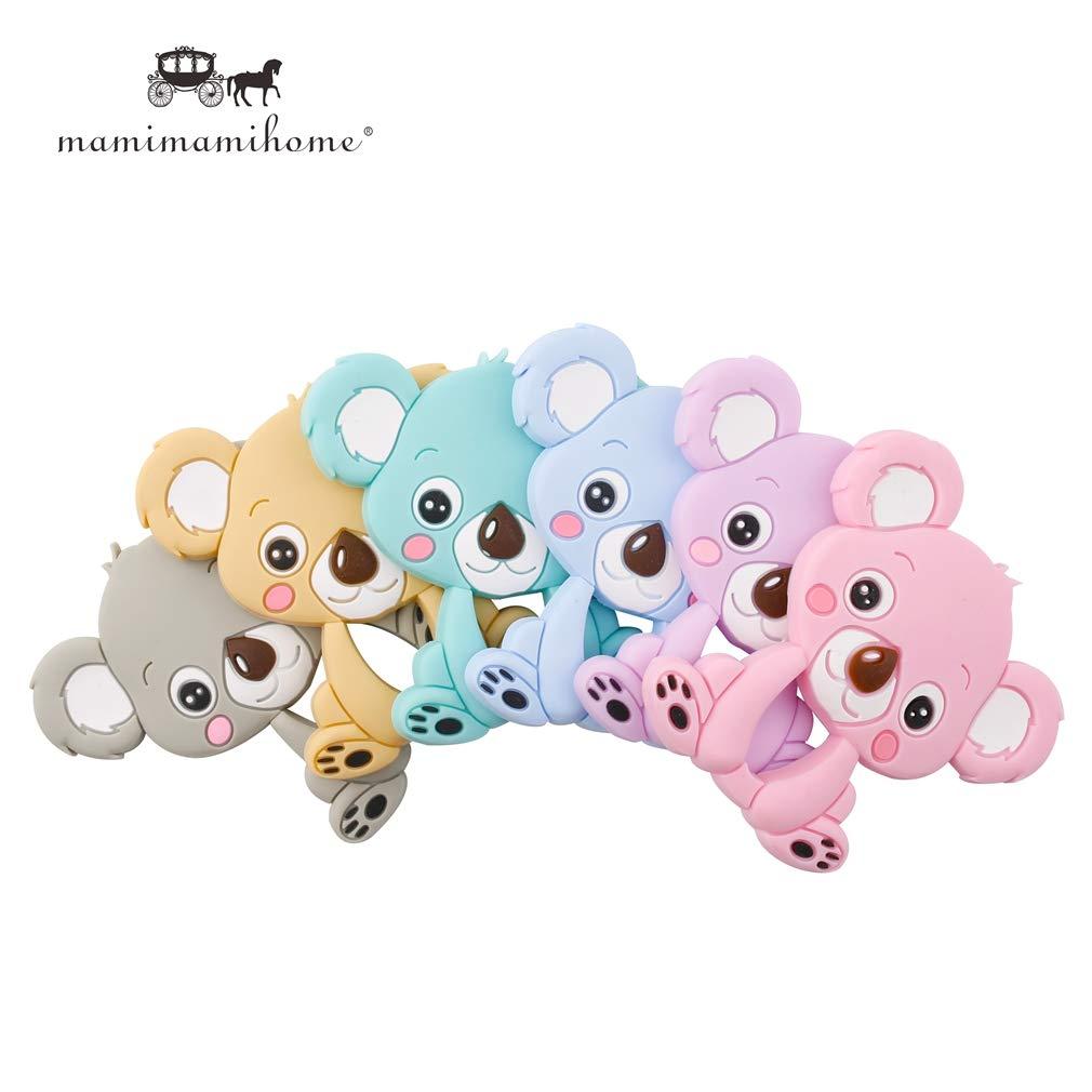 Mamimami Home 5pc Dentition Silicone Koala DIY Collier Allaitement Bracelet de Dentition Attache Tétine Pendentif Jouet Bebe Gym