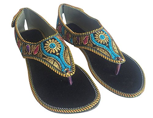 Sandal Saree Traditional Style Flat n Step Punjabi Multicolor Khussa Jutti Ladies Shoes Ethnic WYWv6a