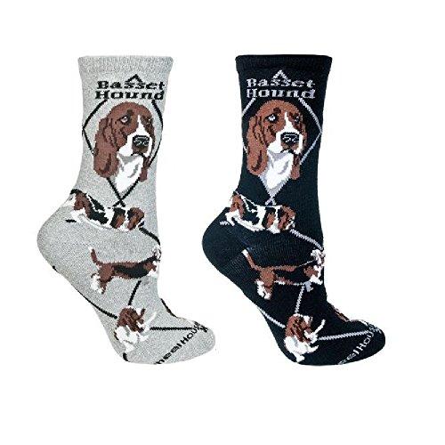 Basset Hound Dog Women's Novelty Socks in Grey and Black - Set of 2 -